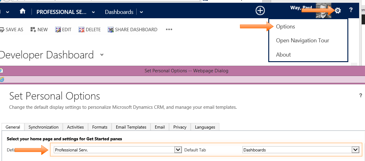 CRM 2013 - Start Users on a Dashboard vs Personal Wall - A