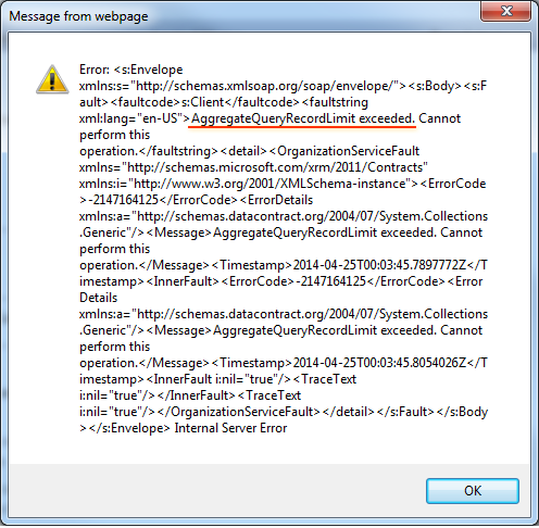 CRM 2013 - Aggregate Query Record Limit exceeded